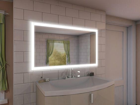Badezimmerspiegel mit led beleuchtung  189€ 100x80 Badspiegel mit LED Beleuchtung - New York M303L4 ...