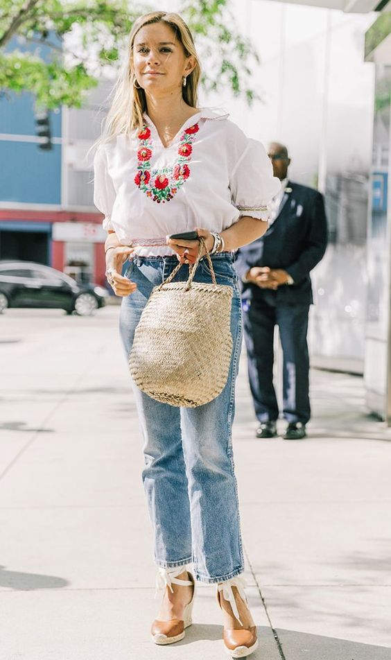 basket bag trend - embroidered top:
