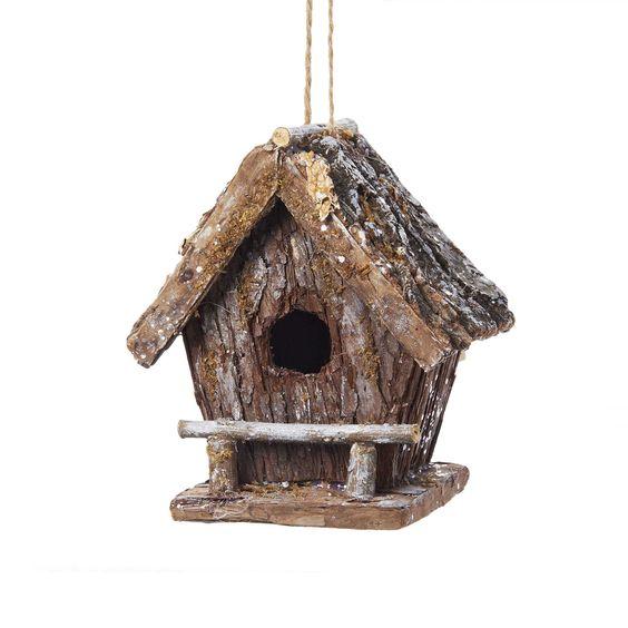 Kurt Adler 7-Inch Wooden Birdhouse Ornament (7-Inch Wooden Birdhouse Ornament), Green moss
