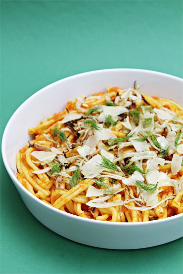 Caserecci with yellow tomato sauce and roasted fennel-Asiago shavings ...
