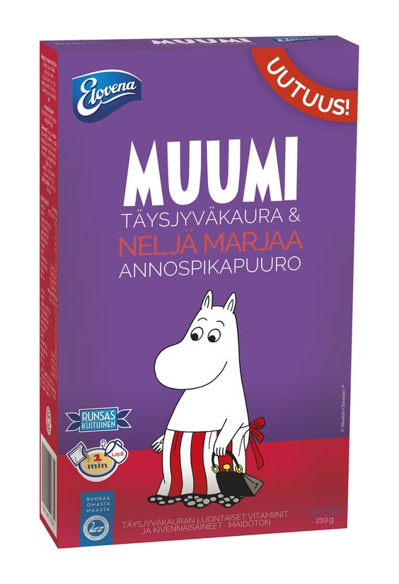 Elovena Moomin wholegrain oat-four berries instant oat meal will give your child a great start to the day.