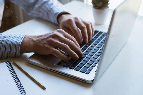 Man working on laptop computer by ollinka. Man working on laptop computer#working, #Man, #laptop, #ollinka