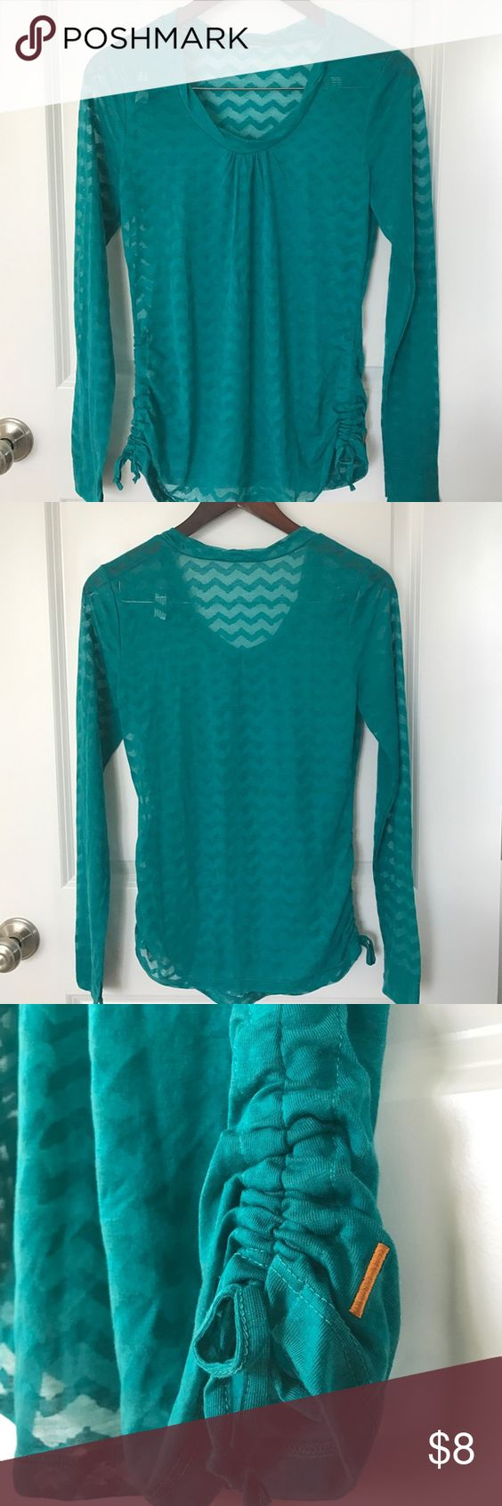 Lucy long sleeve workout shirt, size xs. Lucy long sleeve workout shirt, size xs. Ruched side, sheer flowy light weight, perfect for yoga, studio training.  No tag, great condition. Lucy Tops Tees - Long Sleeve