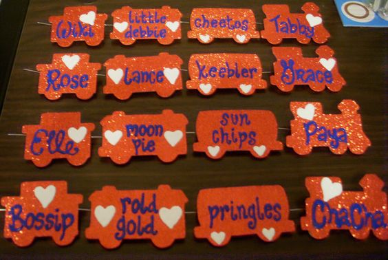 Love train nametags - Chi chapter flare for Convention 2012