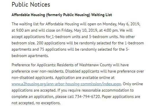 04 27 19 Michigan Housing Opening May 6th 2019 Through May 10th 2019 Link To Apply On The Above Dates Https Ww How To Apply Affordable Housing The Unit