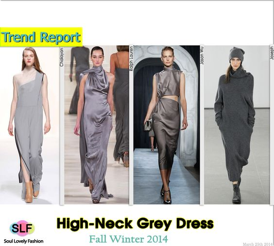 High-Neck Grey Dress #Fashion Trend for Fall Winter 2014 #FW014 #Fall2014Trends