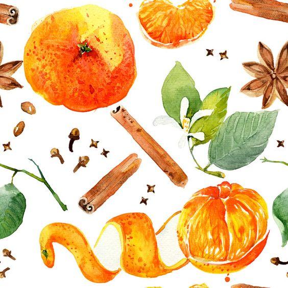 Seamless pattern with orange mandarin fruits. on Behance