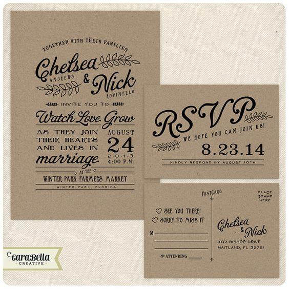 Kraft wedding invitations Postcards and Invitations – Rustic Wedding Invitations Kraft Paper