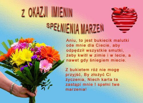 Kartka Pod Tytulem W Dniu Imienin Ani Movie Posters Party