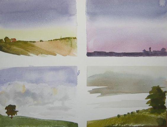 Paysage crayon aquarelle facile google zoeken for Aquarelle facile