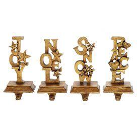 4-Piece Holiday Wishes Stocking Hanger Set