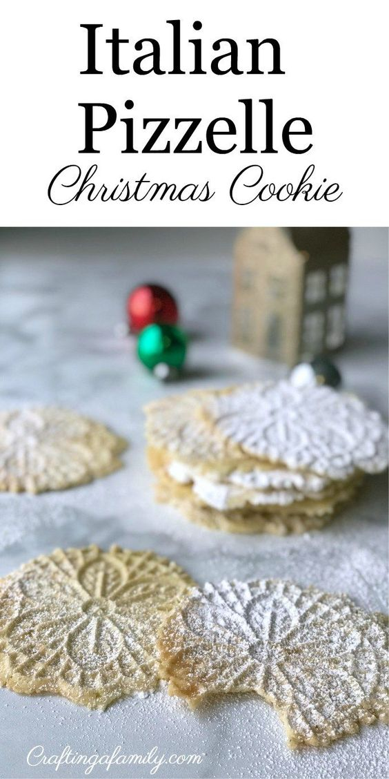 Classic Pizzelle Cookies are a traditional Italian cookie that is perfect for Christmas time. They are thin, crisp, buttery, and topped with a dusting of powdered sugar for sweetness. Perfect fun Christmas cookie to make with the kids. Easy kid friendly. #pizzelle #christmascookie