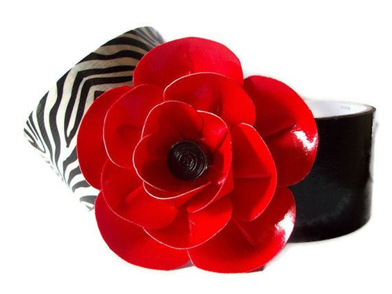 Red Flower hair clip made with 100 percent Duct Tape. $5.00, via Etsy.