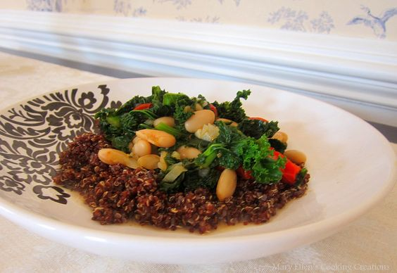 Quinoa with Kale, Tomatoes, and White Beans on Mary Ellen's Cooking Creations