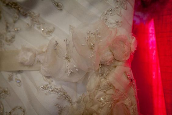 Bridal sash made from dress remains after alterations and a thick ribbon from Michaels.