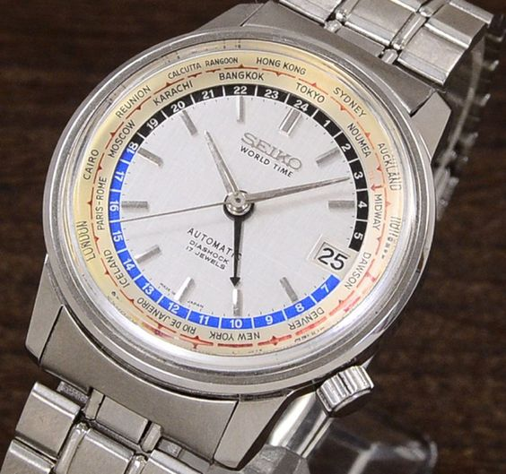 RARE! Vintage SEIKO World time 1st 6217-7000 GMT watch hand Olympic 1964 Japan…