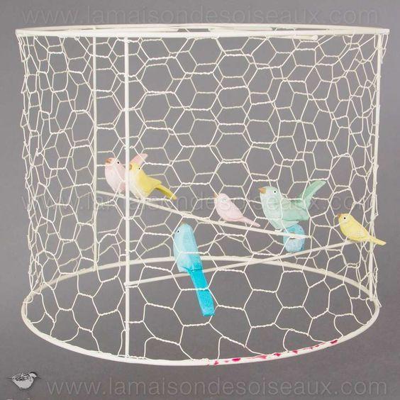 Abat jour cage avec oiseaux old bird cage cages for Cage a oiseaux decorative