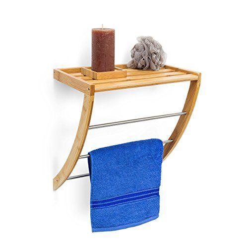 Relaxdays Wand Küchenrollenhalter Bambus HBT 12 x 37 x 13 cm - halter für küchenrolle