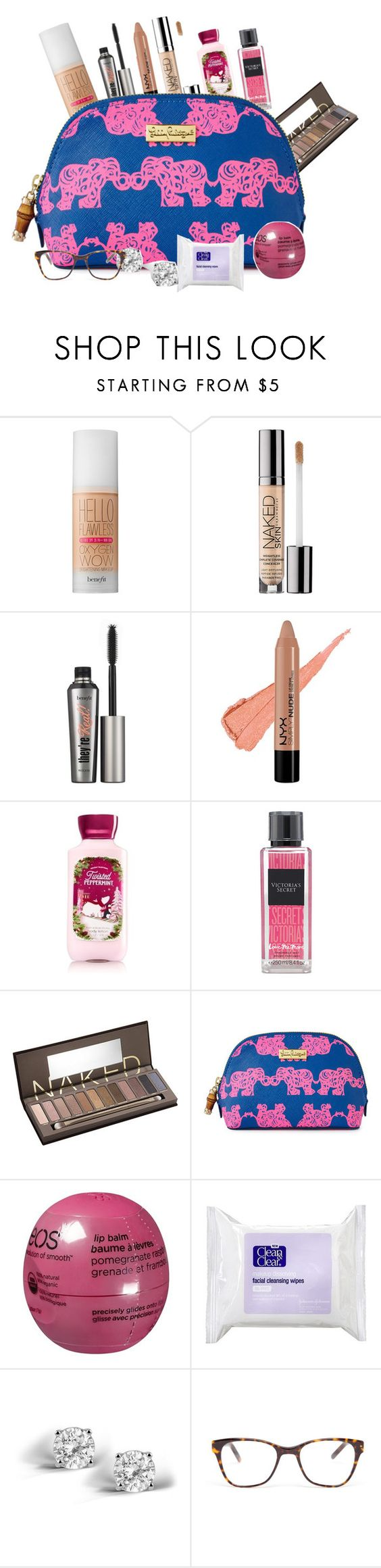 """""""Beauty bag"""" by jackelinhernandez ❤ liked on Polyvore featuring moda, Benefit, Urban Decay, NYX, Victoria's Secret, Lilly Pulitzer, Eos, Clean & Clear, Glitzy Rocks y Prism"""