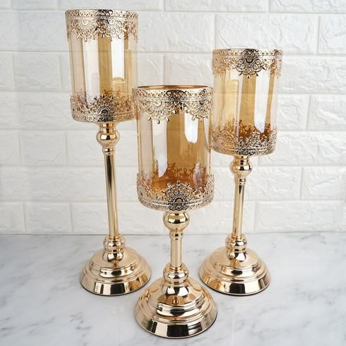 13 Tall Lace Design Gold Amber Hurricane Glass Candle Holder With Glass Tube Glass Hurricane Candle Holder Tall Candle Holders Candle Holders