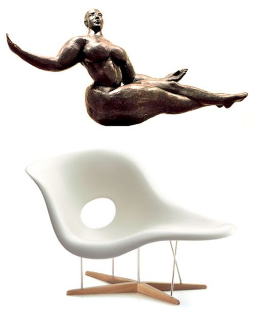 "La Chaise — Charles and Ray Eames (1948). It was inspired by a sculpture called ""Floating Figures"" by Gaston Lachaise! How awesome!!!"