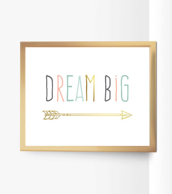 Printable Dream Big Nursery Quote Decor Arrow Peach Mint