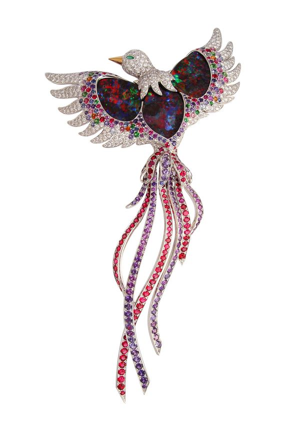 """""""Oiseau Paradis"""" brooch in 18k white gold with black opals, multicoloured sapphires and diamonds."""