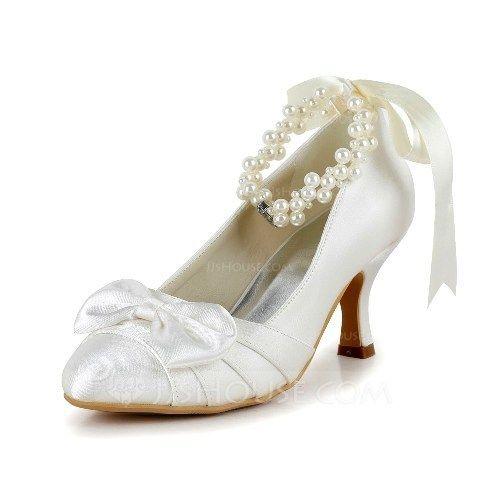 Satin Spool Heel Closed Toe Pumps With Bowknot Imitation Pearl Ribbon Tie (047039760)