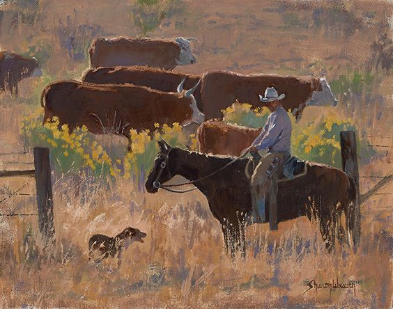 A Dog and His Cowboy by Sharon Weaver Oil ~ 11 x 14: