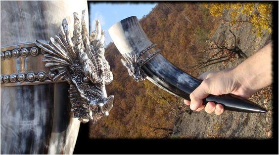 Exclusive Dragon Head Viking Drinking Horn