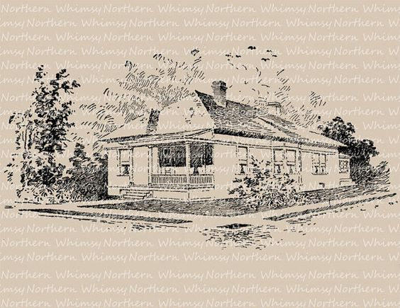 Antique Victorian Bungalow Clip Art Image – 1917 Architecture Illustration – Printable Transfer Graphic – instant download clipart - CU OK
