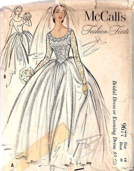 Vogue 545 Vintage 1950s Bridal Gown Sewing Pattern by DejaVuPatterns ...