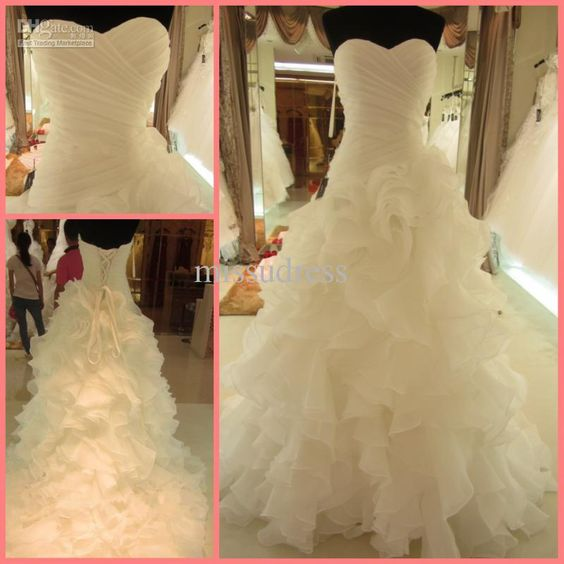 Wholesale Real Picture Custom Made Strapless Sweetheart Ruched Puffy Wedding Dress Chapel Trian, Free shipping, $153.44-173.6/Piece | DHgate