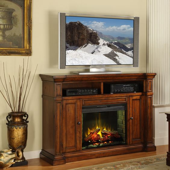 legends furniture berkshire tv stand with electric fireplace - Electric Fireplace Media Center