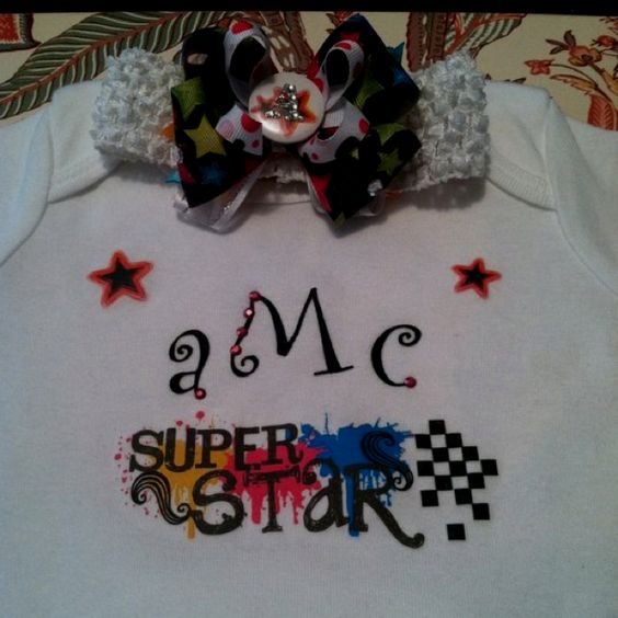 Onesie & bow on headband made for baby Alex