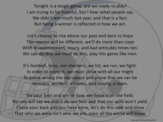 Football Poem Digital Print, Downloadable Pregame Football Poem ...