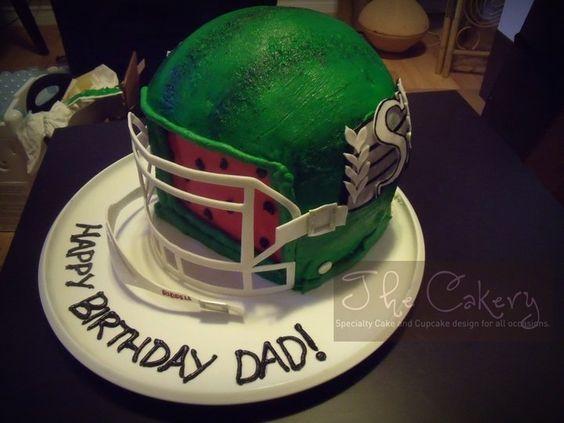Saskatchewan Roughriders football helmet cake