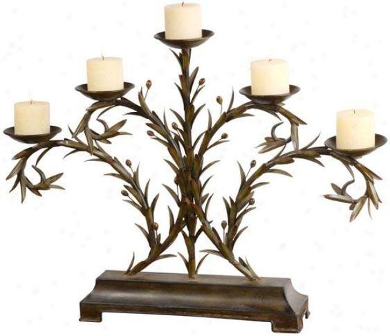 Olive leaf candle holder