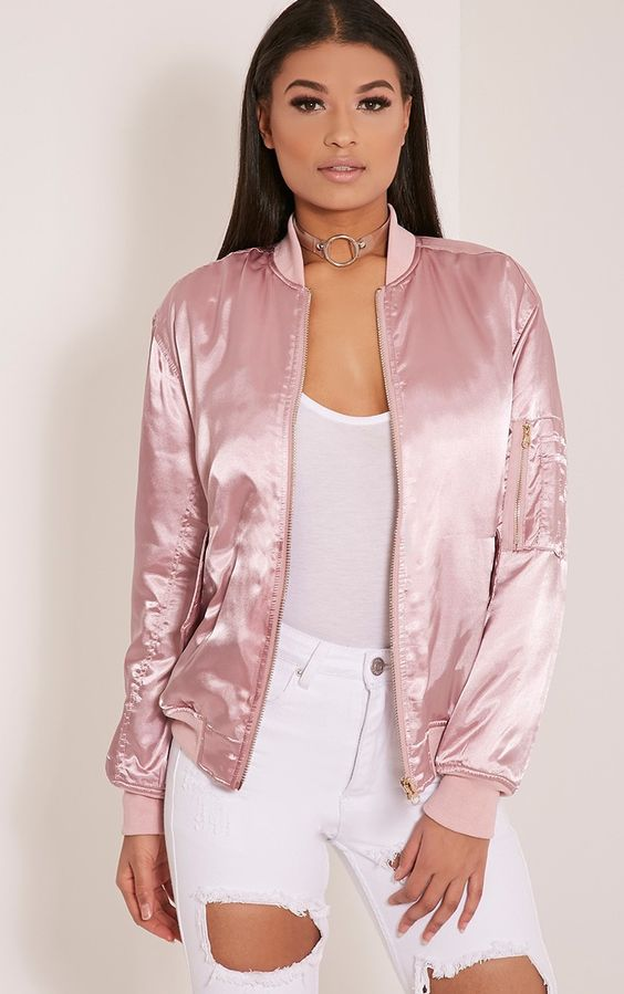 Cruz Dusty Pink Satin Bomber Jacket Image 1 | Fashion Must-Haves
