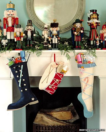 Love this nutcracker display and creative stockings! 29 Creative DIY Christmas Stockings