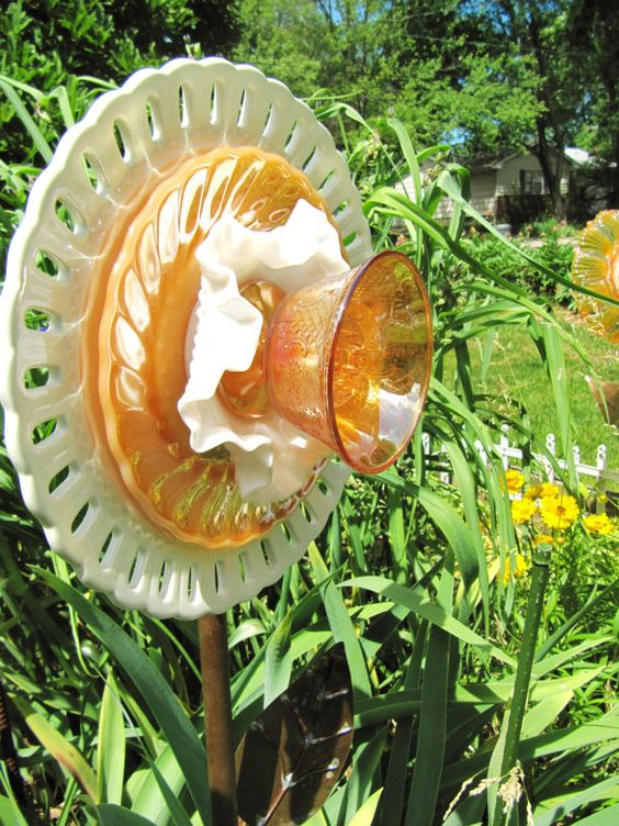 glass flower plate garden decor upcycled glass by ADelicateTouch1