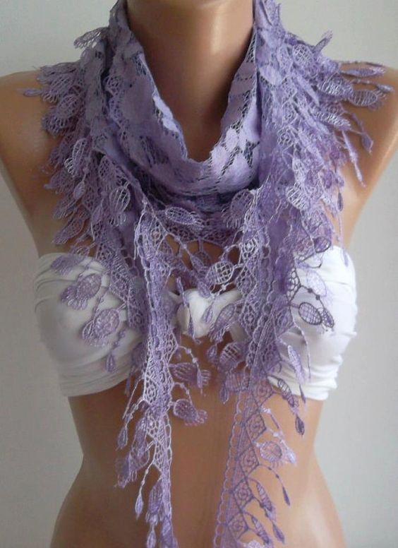 Lilac   Elegance  Shawl / Scarf with Lacy Edge by womann on Etsy,