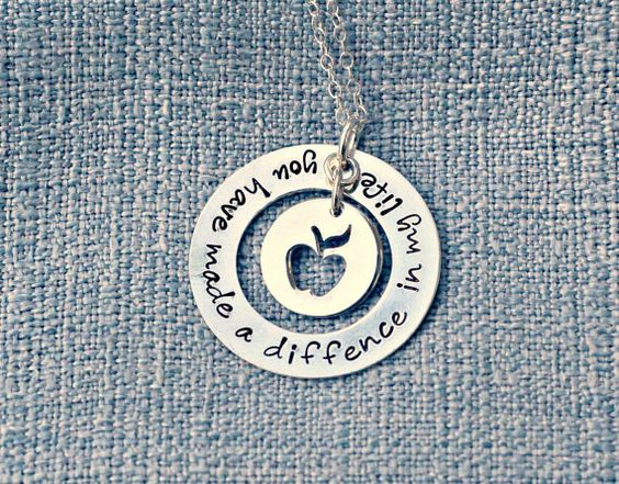 Hand Stamped Jewelry - Custom Necklace - Teacher Necklace - Teacher Gift - Personalized Jewelry