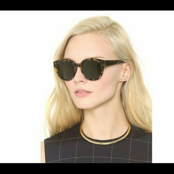 Karen Walker Round Anywhere Sunglasses SOLD OUT STYLE! Thick tortoiseshell plastic round frames. Non-polarized lenses. Width: 5.5in Height: 2in Width: 52mm Includes case. Karen Walker Accessories Sunglasses