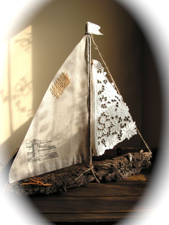 Driftwood Sailboat with Antique Lace or Linen by Mydaisy2000