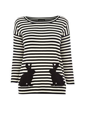 Warehouse Stripe rabbit jumper Black - House of Fraser
