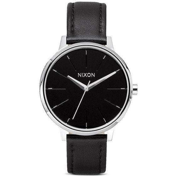 Nixon ' The Kensington Leather' watch ($110) ❤ liked on Polyvore
