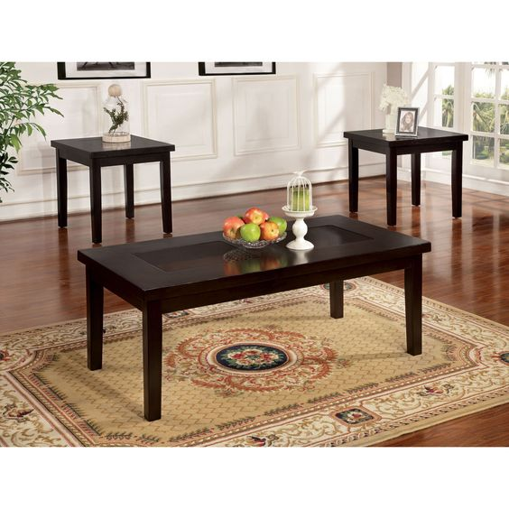 Furniture of America Elodie Espresso 3-Piece Accent Table Set