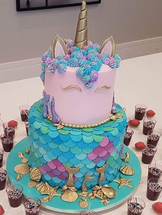 Bolo Unicornio E Fundo Do Mar Unicorn Birthday Cake Mermaid