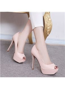 Shoespie Metal Decoration Peep-Toe Platform Heels